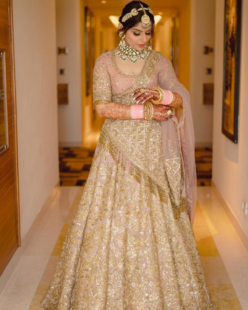 Golden Lehenga With Pink Accents
