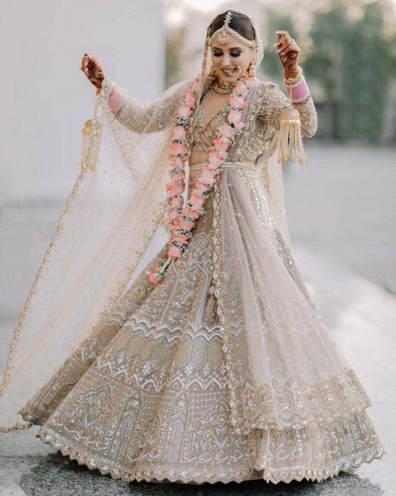 Beige Golden Lehenga For Brides