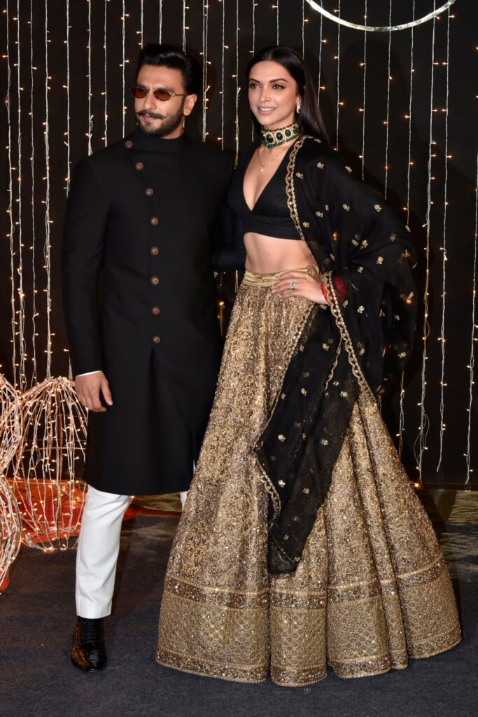 Golden Lehenga With Contrast Blouse