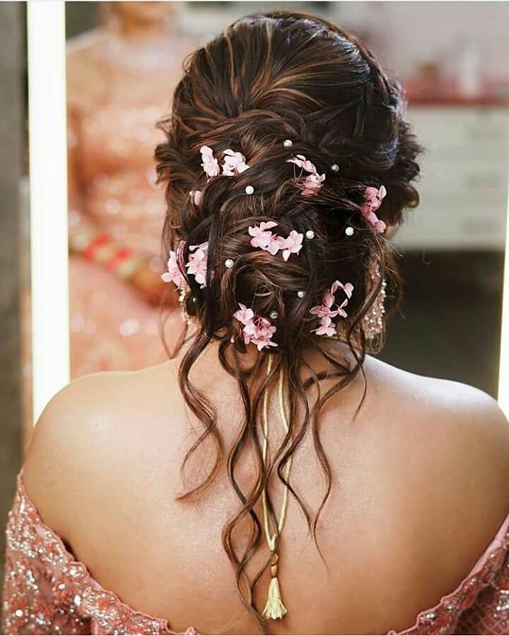 Floral Bridal Bun Hairstyle
