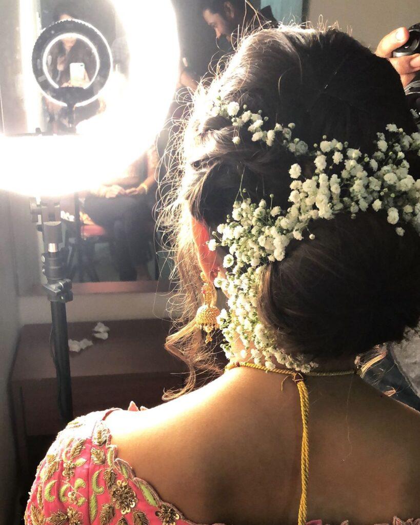 Indian Bridal Bun Hairstyle Baby's Breath