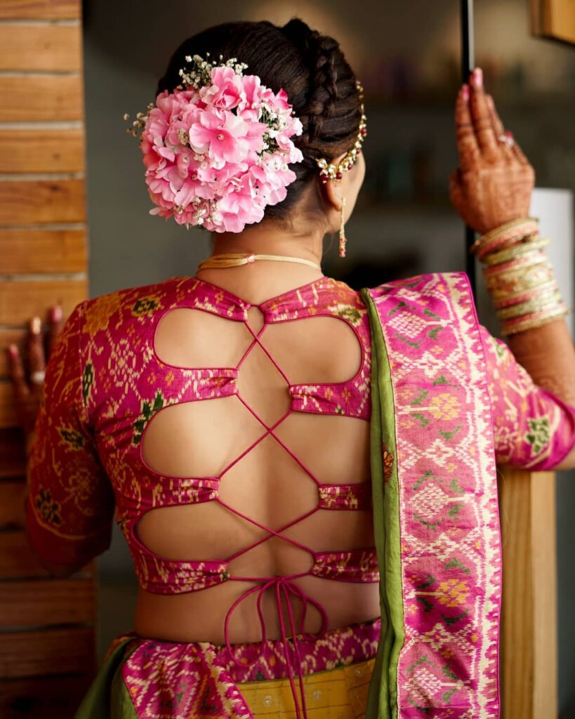 Bridal Bun With Pink Roses