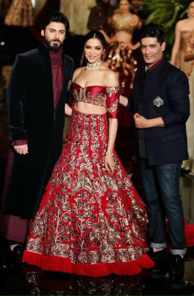 Deepika Padukone Red Manish Malhotra Lehenga