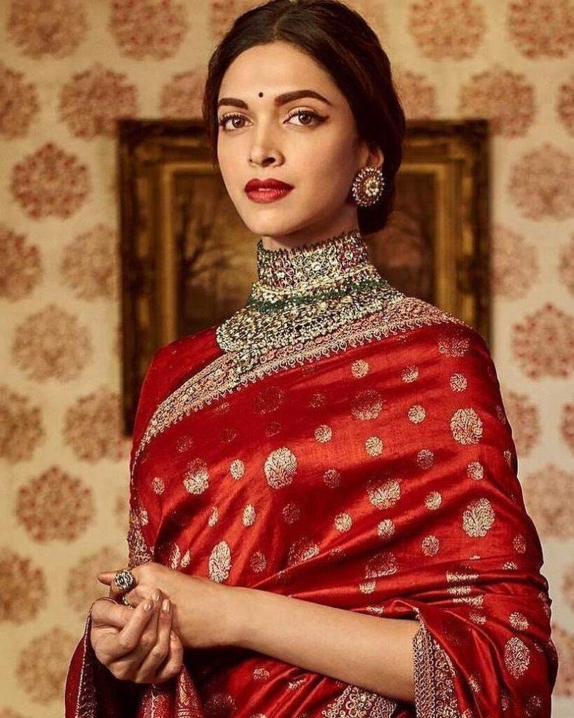 Deepika Padukone Red Sabyasachi Saree