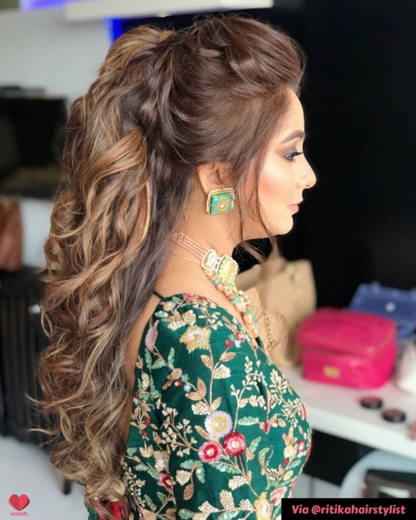Puffy Ponytail Hairstyle Sangeet