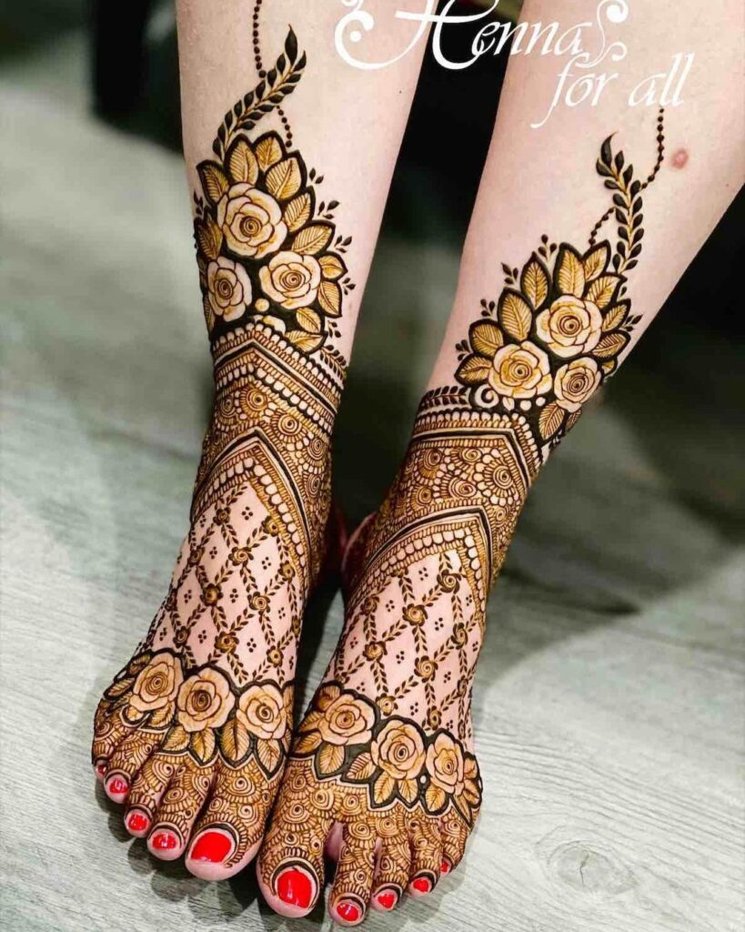Bharwa foot mehandi