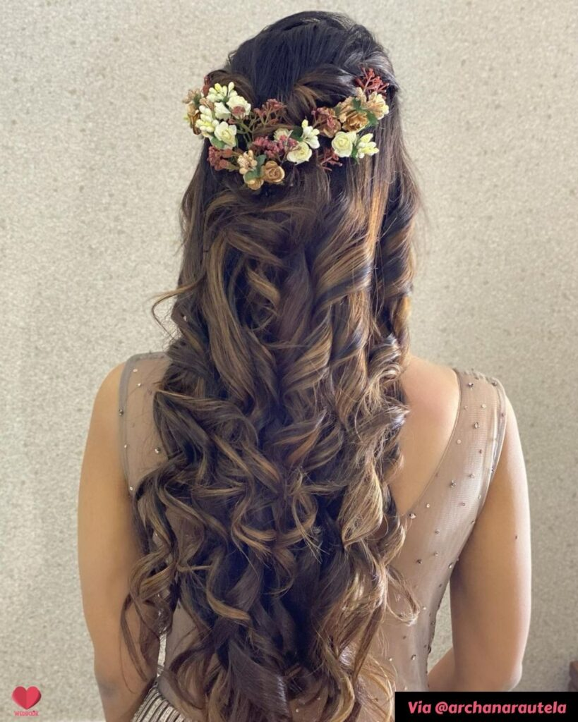 Half Up Half Down Hairstyle For Sangeet