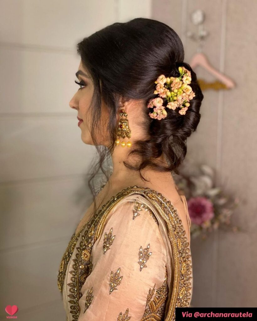 Bridal Bun Hairstyle For Sangeet