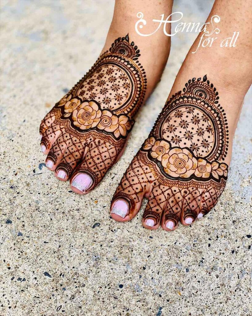 easy foot mehndi design