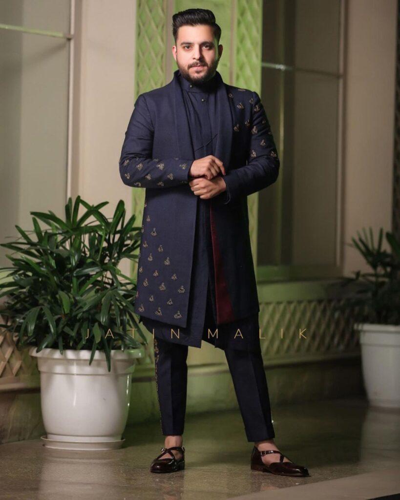 Blue Sherwani for engagement for men