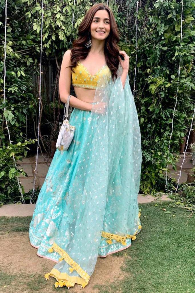 Alia Bhatt Blue Anita Dongre Lehenga