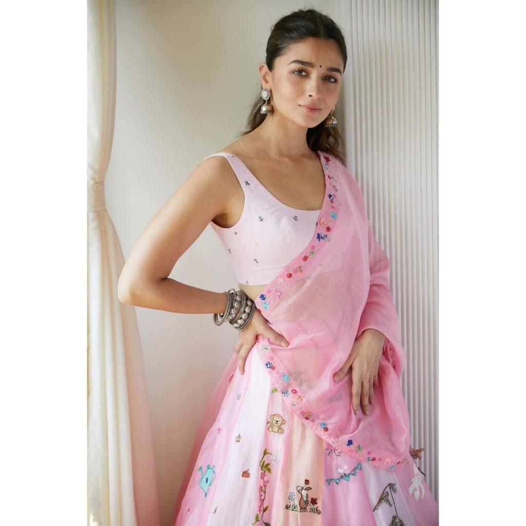 Alia Bhatt Lehenga Pink Diwali