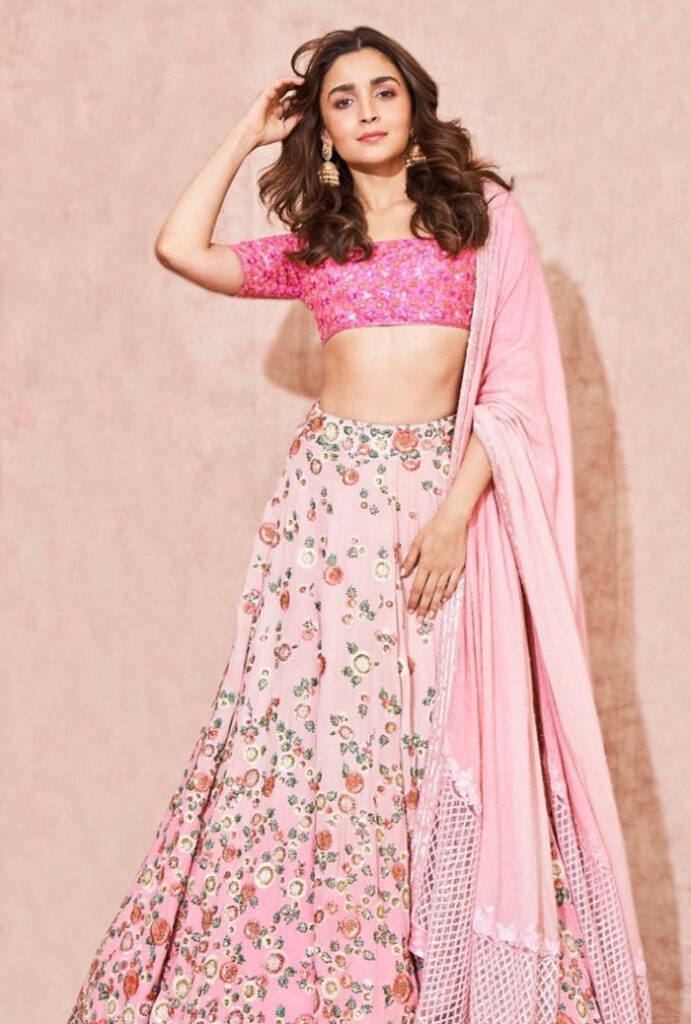 Alia Bhatt Pink Lehenga Manish Malhotra