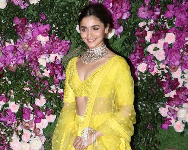 Alia Bhatt Yellow Sabysachi Lehenga