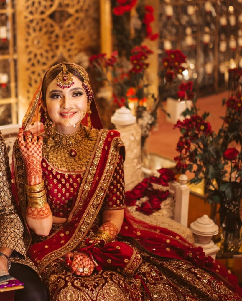 Red Heavy Sabyasachi Bridal Lehenga