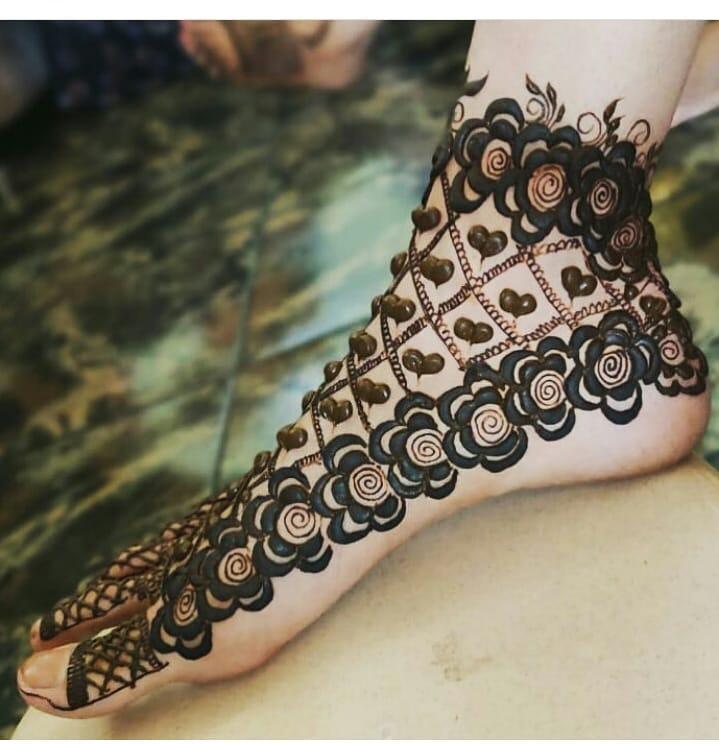 Jaal Mehandi Design Foot