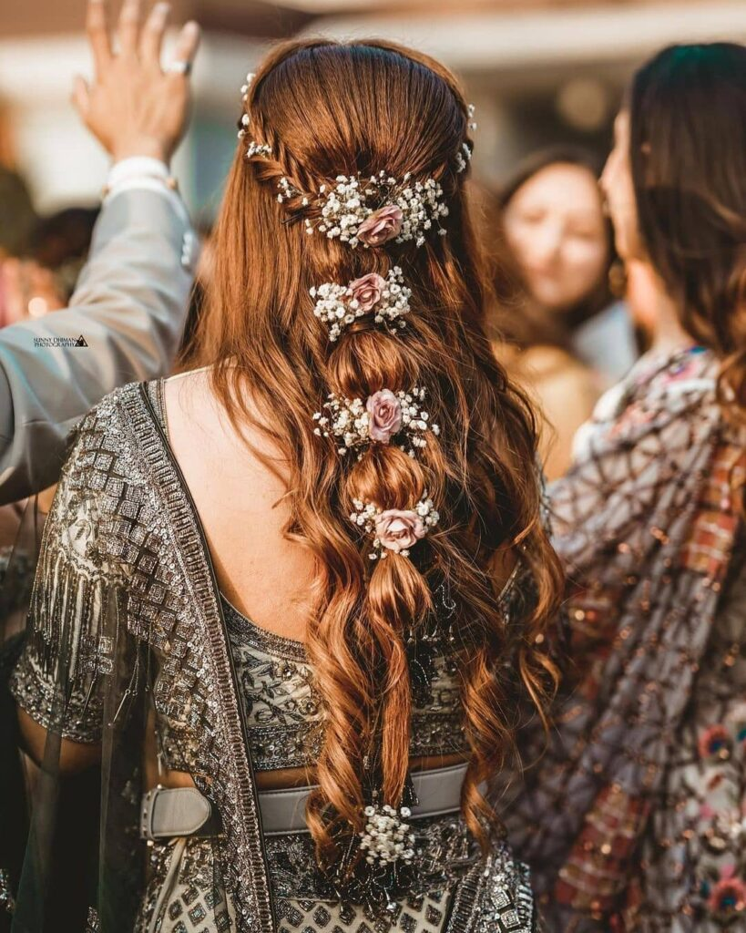 Indian Bridal Braid Hairstyle With Flowers