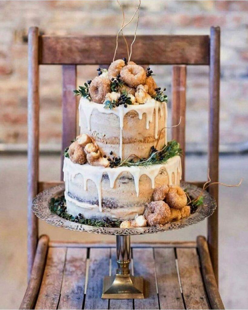 Rustic Semi Naked Wedding Cake