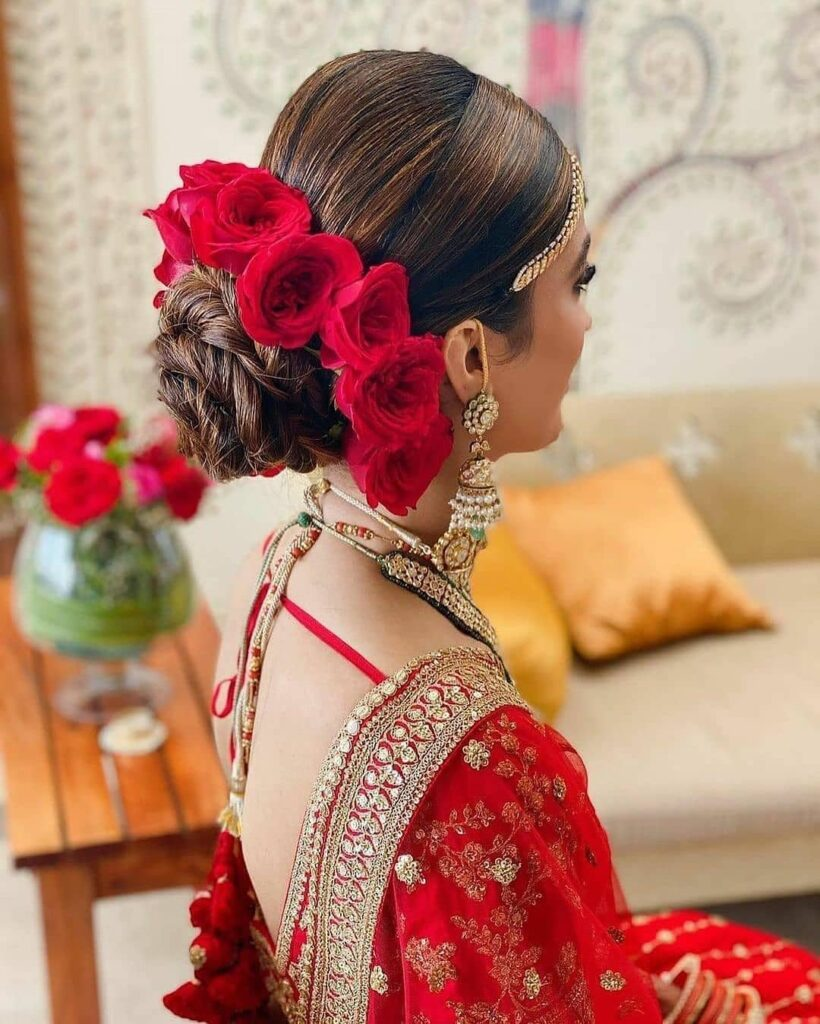 Indian Bridal Bun With Flowers