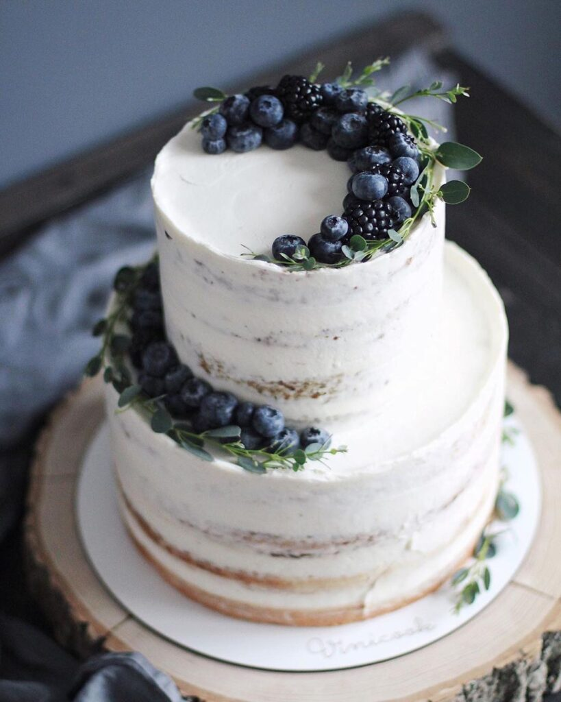 Simple Berry Naked Wedding Cake