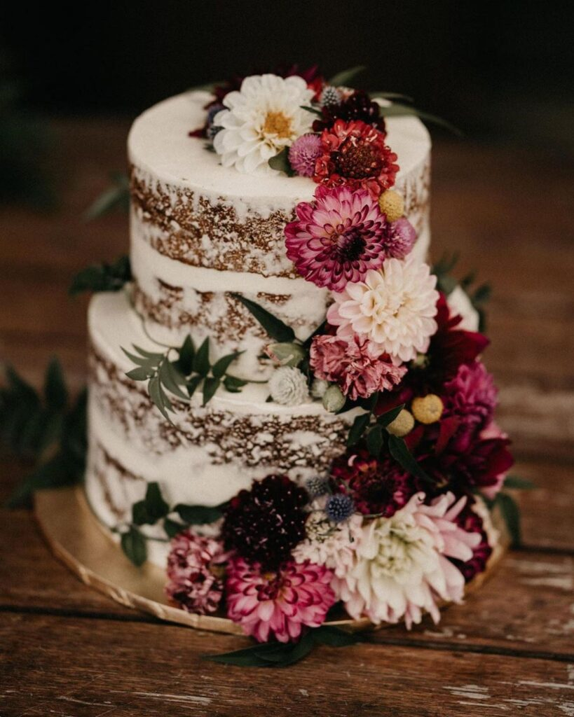 Chocolate Naked Cake With Flowers