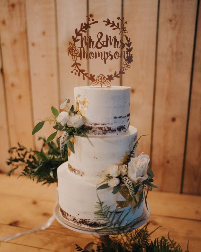 Half-Dressed Wedding Cake