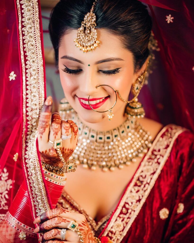 Indian Bridal Makeup With Red Lips