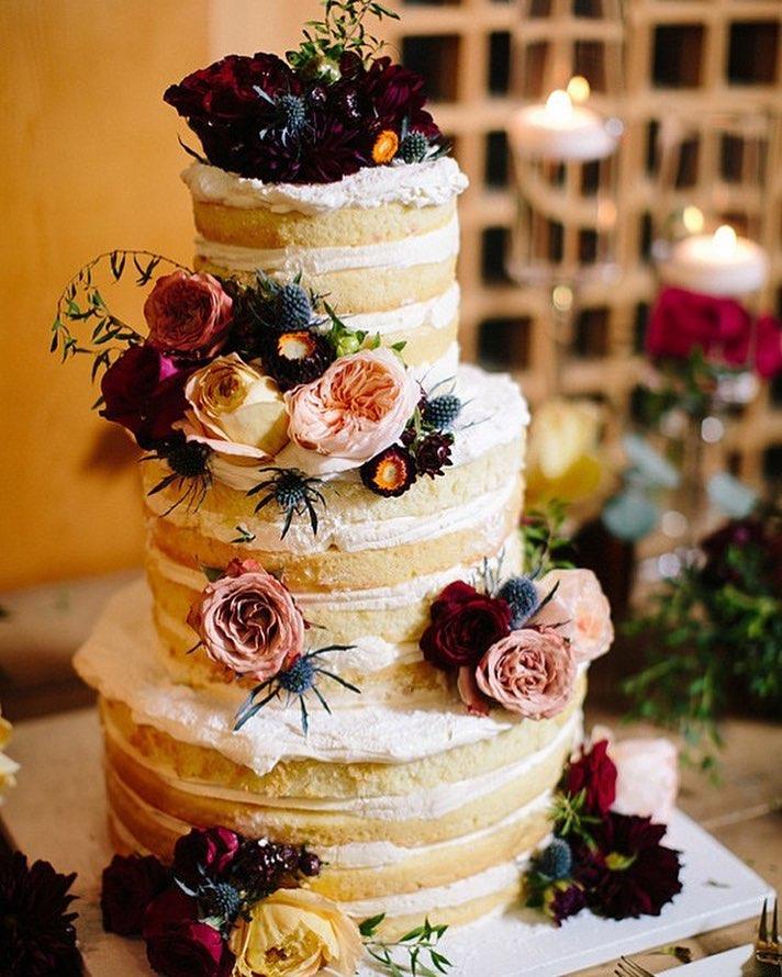 Naked Wedding Cake With Flowers