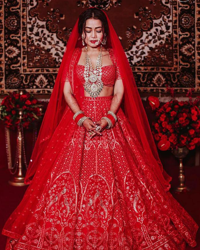 Neha Kakkar Red Wedding Lehenga
