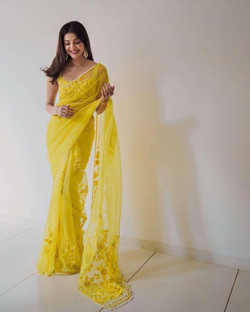 Kajal Aggarwal Yellow Saree